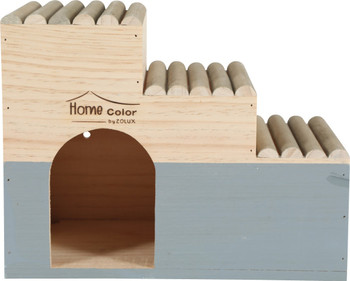 HOME COLOR WOODEN HOUSE WITH ROUND TIMBERS - LARGE/GREY