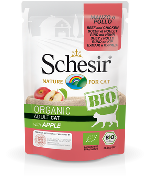 Schesir Bio Beef And Chicken With Apple For Cats 12x85g