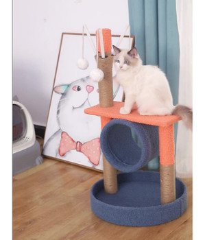 Pado Cat Tree Cat Tower For Activity With Tunnel And Toy Ball - 37 X 37 X 26 Cm