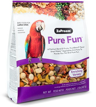 Pure Fun Large A fun mix of nutritionally balanced large size pellets with vegetables and nuts to excite and enrich you pet birds diet and feeding experience. The blend includes a delicious mix of right sized pieces for your bird which helps minimize wasted food.