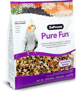 Pure Fun Medium A fun mix of nutritionally balanced medium size pellets with fruit and seeds to excite and enrich you pet birds diet and feeding experience. The blend includes a delicious mix of right sized pieces for your bird which helps minimize wasted food.