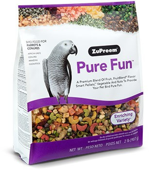 Pure Fun P&C A fun mix of nutritionally balanced large size pellets with vegetables and nuts to excite and enrich you pet birds diet and feeding experience. The blend includes a delicious mix of right sized pieces for your bird which helps minimize wasted food.