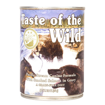 A great tasting complement to the dry Taste of the Wild formulas, the Pacific Stream Canine Formula with Salmon in Gravy will satisfy your pet's taste for wet food. This complete and balanced formula can also be fed as your pet's sole diet. Made with salmon, this formula offers a taste sensation like no other. Contains salmon, a great source of omega-3 fatty acids. Sweet potatoes, blueberries and raspberries are great sources of antioxidants to help give your friend for a healthy lifestyle.  Ingredients  Salmon, fish broth, water, dried egg product, potato starch, pea flour, potatoes, smoked salmon, ocean fish, peas, guar gum, sunflower oil, salt, natural flavor, sodium phosphate, potassium chloride, calcium carbonate, inulin, tomatoes, sweet potatoes, blueberries, raspberries, choline chloride, yucca schidigera extract, zinc amino acid chelate, iron amino acid chelate, thiamine mononitrate, vitamin E supplement, copper amino acid chelate, manganese amino acid chelate, sodium selenite, cobalt amino acid chelate, niacin supplement, d-calcium pantothenate, vitamin A supplement, riboflavin supplement, biotin, vitamin B12 supplement, potassium iodide, pyridoxine hydrochloride, vitamin D3 supplement, folic acid.  Guaranteed Analysis Crude Protein7.0% Minimum Crude Fat3.0% Minimum Crude Fiber1.0% Maximum Moisture82.0% Maximum Calorie Content  (ME Calculated) 1,013 kcal/kg, 379 kcal/can (13.2 oz.)  Feeding Guide (cans/day)  Amount of food your dog requires will depend on age, activity level, environment and breed. Feed at room temperature and refrigerate unused portion. Keep fresh water available at all times  Weight of Adult Dog (lbs.)*Toy (2 – 12 lbs.)Small (12 – 25 lbs.)Medium (25 – 50 lbs.)Large (50 – 100 lbs.) When feeding canned food only (13.2 oz. can)¼ – 1¼1¼ – 22 – 3¼3¼ – 5 *For puppies, feed up to two times the recommended adult feeding amount by body weight. As your puppy gets older, gradually decrease the amounts to near adult amounts.  AAFCO Statement  Taste o