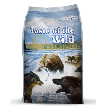 A fish protein, grain-free formula with sweet potatoes provides highly digestible energy for your sensitive dog. Made with real smoked salmon, this formula offers a taste sensation like no other. Supplemented with vegetables and fruits, this fish and potato formula delivers antioxidants to help give your friend a healthy lifestyle. Your dog craves a taste of the wild. Go ahead and give him one.  Ingredients  Salmon, ocean fish meal, sweet potatoes, potatoes, peas, canola oil, garbanzo beans, salmon meal, smoked salmon, potato fiber, natural flavor, salt, choline chloride, dried chicory root, tomatoes, blueberries, raspberries, yucca schidigera extract, dried Lactobacillus acidophilus fermentation product, dried Bifidobacterium animalis fermentation product, dried Lactobacillus reuteri fermentation product, vitamin E supplement, iron proteinate, zinc proteinate, copper proteinate, ferrous sulfate, zinc sulfate, copper sulfate, potassium iodide, thiamine mononitrate (vitamin B1), manganese proteinate, manganous oxide, ascorbic acid, vitamin A supplement, biotin, niacin, calcium pantothenate, manganese sulfate, sodium selenite, pyridoxine hydrochloride (vitamin B6), vitamin B12 supplement, riboflavin (vitamin B2), vitamin D supplement, folic acid.  Guaranteed Analysis Crude Protein25.0 % minimum Crude Fat15.0% minimum Crude Fiber3.0% maximum Moisture10.0% maximum Zinc150 mg/kg minimum Selenium0.3 mg/kg minimum Vitamin E150 IU/kg minimum Omega-6 Fatty Acids*2.4% minimum Omega-3 Fatty Acids*0.3% minimum Total Microorganisms* (Lactobacillus acidophilus, Bifidobacterium animalis, Lactobacillus reuteri)not less than 1,000,000 CFU/lb *Not recognized as an essential nutrient by the AAFCO Dog Food Nutrient Profiles.  Calorie Content  3,600 kcal/kg (360 kcal/cup) Calculated Metabolizable Energy  Feeding Guide Standard Measuring Cups/Day Weight (lbs.)  Adult Dogs  3 – 5⅓ – ½ 5 – 10½ – 1 10 – 201 – 1½ 20 – 301½ – 2 30 – 402 – 2⅓ 40 – 602⅓ – 3¼ 60 – 803¼ – 3¾ 80 – 1003¾ – 4½ 100 –
