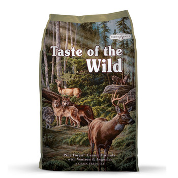 Venison is a lean, highly digestible protein, providing your dog with lots of energy and that wild game avor, without the extra fat. Probiotics and prebiotic fiber help support healthy digestion, while the perfect balance of omega fatty acids, legumes, fruits and protein sources make this a well-rounded, nutrient-packed formula. Your dog craves a taste of the wild. Go ahead and give him one.  Ingredients  Venison, lamb meal, garbanzo beans, peas, lentils, pea protein, pea flour, egg product, canola oil, tapioca, tomato pomace, natural flavor, ocean fish meal, salt, choline chloride, dried chicory root, tomatoes, blueberries, raspberries, yucca schidigera extract, dried Lactobacillus acidophilus fermentation product, dried Bifidobacterium animalis fermentation product, dried Lactobacillus reuteri fermentation product, vitamin E supplement, iron proteinate, zinc proteinate, copper proteinate, ferrous sulfate, zinc sulfate, copper sulfate, potassium iodide, thiamine mononitrate (vitamin B1), manganese proteinate, manganous oxide, ascorbic acid, vitamin A supplement, biotin, niacin, calcium pantothenate, manganese sulfate, sodium selenite, pyridoxine hydrochloride (vitamin B6), vitamin B12 supplement, riboflavin (vitamin B2), vitamin D supplement, folic acid.  Guaranteed Analysis Crude Protein28.0% minimum Crude Fat15.0% minimum Crude Fiber4.5% maximum Moisture10.0% maximum Zinc150 mg/kg minimum Selenium0.3 mg/kg minimum Vitamin E150 IU/kg minimum Omega-6 Fatty Acids*2.8% minimum Omega-3 Fatty Acids*0.3% minimum Total Microorganisms* (Lactobacillus acidophilus, Bifidobacterium animalis, Lactobacillus reuteri)not less than 1,000,000 CFU/lb *Not recognized as an essential nutrient by the AAFCO Dog Food Nutrient Profiles.  Calorie Content  3,600 kcal/kg (337 kcal/cup) Calculated Metabolizable Energy  Feeding Guide Standard Measuring Cups/Day Weight (lbs.)6 – 12 weeks3 – 4 months5 – 7 months8 – 12 monthsAdult Dogs 3 – 5¾ – 1¼¾ – 1⅔ – 1½ – ¾½ – ⅔ 5 – 101¼ – 21 – 1¾1 – 1⅔¾ – 