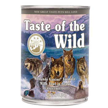 A great tasting complement to the dry Taste of the Wild formulas, the Wetlands Canine Formula with Fowl in Gravy will satisfy even the most finicky dogs. This complete and balanced formula can also be fed as your pet's sole diet. Made with fowl, this formula offers a taste sensation like no other. Contains duck, quail and turkey for a blend of fowl that provides optimal amino acid nutrition. Supplemented with vegetables and fruits, this formula delivers antioxidants to help give your friend a healthy lifestyle.  Ingredients  Duck, duck broth, chicken broth, chicken liver, dried egg product, chicken, potato starch, potatoes, roasted duck, roasted quail, smoked turkey, peas, ocean fish, guar gum, natural flavor, sodium phosphate, salt, flaxseed oil (preserved with mixed tocopherols), potassium chloride, inulin, tomatoes, sweet potatoes, blueberries, raspberries, choline chloride, yucca schidigera extract, zinc amino acid chelate, iron amino acid chelate, thiamine mononitrate, vitamin E supplement, copper amino acid chelate, manganese amino acid chelate, sodium selenite, cobalt amino acid chelate, niacin supplement, d-calcium pantothenate, vitamin A supplement, riboflavin supplement, biotin, vitamin B12 supplement, potassium iodide, pyridoxine hydrochloride, vitamin D3 supplement, folic acid, rosemary extract.  Guaranteed Analysis Crude Protein8.0% Minimum Crude Fat3.5% Minimum Crude Fiber1.0% Maximum Moisture82.0% Maximum Calorie Content  (ME Calculated) 994 kcal/kg, 372 kcal/can (13.2 oz.)  Feeding Guide (cans/day)  Amount of food your dog requires will depend on age, activity level, environment and breed. Feed at room temperature and refrigerate unused portion. Keep fresh water available at all times.  Weight of Adult Dog (lbs.)*Toy (2 – 12 lbs.)Small (12 – 25 lbs.)Medium (25 – 50 lbs.)Large (50 – 100 lbs.) When feeding canned food only (13.2 oz. can)¼ – 1¼1¼ – 22 – 3¼3¼ – 5 *For puppies, feed up to two times the recommended adult feeding amount by body weight. As y