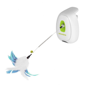 The jumping wand is the perfect toy to keep the cat active and entertained. Can be attached it to any table. Once the cat walks close to it, the Feather wand start moving up and down enticing the cat's natural instinct.