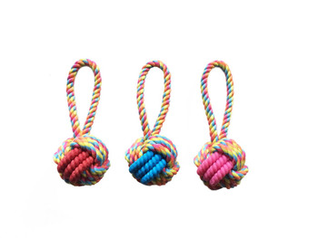 Tough interactive high quality fetch, tug, and chew toy with loop handle. Durable rubber and cotton rope in reflective color. Ideal for games of fetch and tug. Dual materials for added interest for your pet. Assorted colours, only one supplied.