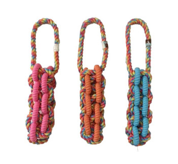 Tough interactive high quality fetch, tug, and chew toy with loop handle. Durable rubber and cotton rope in reflective color. Ideal for games of fetch and tug. Dual materials for added interest for your pet. Assorted colors, only one supplied.