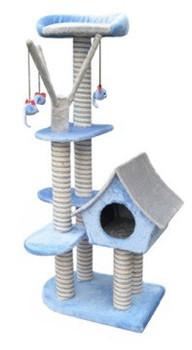 Blue Sagrada Cat Scratching Pole, Plush & Sisal. Dimensions : 54 x 36 x 128 (H) cm.