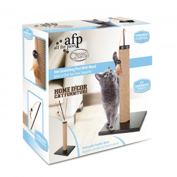 This home decor cat scratcher feature a wand that can be taken out to play separatly with your cat. Cat scratching posts are an easy way to entertain your cat. Not to mention, they also keep your sofa from being destroyed!  • Removable wand toy • Easy to assemble • Jute scratching post Size (Cm) : L 30.0 x W 30.0 x H 59.0