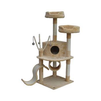 Perfect for felines with a sense of adventure, this free-standing cat tree showcases 3 sisal scratching posts and a hideaway condo.