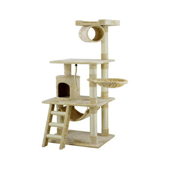 Perfect for felines with a sense of adventure, this free-standing cat tree showcases 3 sisal scratching posts, a hammock for lounging, and a hideaway condo.  Features Easy to assemble with step by step instruction and tools included Cat tree Covering material: Faux fur Board Material : Pressed wood Number of rope: 1 Number of basket: 1 Number of ladder: 1 Posts covered by natural sisal rope Intended to be used by cats only Construction is non toxic for any pet Sturdy: Yes Accommodates small cats only Product Details Frame Material: Wood Cover Material: Faux fur; Sisal rope Freestanding: Yes Product Warranty: 30 day warranty on manufacturer's defects Multiple Cats Number of Cats: 2