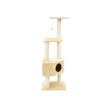 "This Go Pet Club 51"" Wood Cat Tree in Beige, is beautifully designed cat tree that complements most home decors. It also features fun activities for your pet. This simple yet contemporary looking cat tree will indeed be your pet's favorite fun place. The 51"" Wood Cat Tree in Beige from Go Pet Club is made using manufactured wood that makes it highly durable and sturdy. It has a beige finish that complements most home decors. It is covered using faux fur, which is soft to touch. The cat tree is contemporary in style and has three elevated platforms, which can accommodate multiple cats. It has multiple scratching posts, which are covered using sisal rope. The cat tree features a condo and a hanging toy to keep your pet active and playful. The cat tree requires minor assembly and can be fixed using Allen wrench. This cat tree is made using non-toxic material, thus ensuring safety to both your family and pets. In addition to this, it is easy to clean. Just wipe it clean using a damp cloth and regular liquid soap. The cat tree is manufactured by Go Pet Club, a well-known name, recognized for producing an excellent quality cat trees and pet beds.  Features Cat tree Posts covered by natural sisal rope Perfect for your cat to scratch, climb, jump, play, and even sleep or lounge on Color: Beige Dangling cat toy included Covering material: Faux fur Product Details Frame Material: Wood Cover Material: Faux fur; Sisal rope Freestanding: Yes Product Warranty: 30 day warranty on manufacturer's defects"
