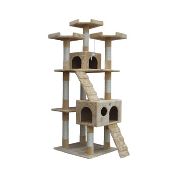 "Perfect for felines with a sense of adventure, this free-standing cat tree makes a must-have addition to the playroom or den. Gift your cat a place of its own with this Go Pet Club 72"" Cat Tree with Condo House. This enormous structure can be placed at any corner of your house and will suit most home decors.  This 72"" Cat Tree with Condo House from Go Pet Club is made using compressed wood which makes it sturdy, stable, and highly durable. The cat tree is covered using faux fur, which is soft and cozy. The cat tree is available in multiple colors to choose from. A five-tiered structure, this cat tree perfectly accommodates multiple cats. It has two condos, where in your pet can hide or relax after a tiring session of play. The ten scratching posts cater to your pet's natural habit to scratch their claws. These posts are covered using sisal rope, which is durable in nature. In addition, this cat tree features two ramps, which helps your pet to go up and down the cat tree quickly.  This cat tree is non-toxic in nature. Hence, it is safe for both, your family and pets. It is easy to assemble and can be done using Allen wrench. The cat tree is available from the house of Go Pet Club; a well-known name recognized for producing excellent quality cat trees, condos, and pet beds.  Features Cat condo posts are hollow Top box dimension: 12 X 12 X 9.5"" Bottom box dimension: 18 X 12.5 X 11.5"" Product Details Cover Material: Faux fur Freestanding: Yes Product Warranty: 30 day warranty on manufacturer's defects Multiple Cats Number of Cats: 3"