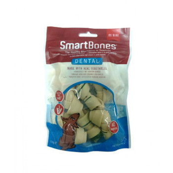 SmartBones have all the benefits of a rawhide chewWITHOUT the RAWHIDE!Many veterinarians are concerned with the potential health risks associated with dogs consuming rawhide.NORAWHIDE SmartBones are made with REAL CHICKEN, wholesome VEGETABLES and essential dental ingredients to help maintain healthy teeth and fresh breath. Helps Reduce Tartar Buildup & Freshens Breath With Baking Soda and Chlorophyll Rawhide-Free Easy to Digest Vitamin & Mineral Enriched Chewing Helps Maintain Healthy Teeth