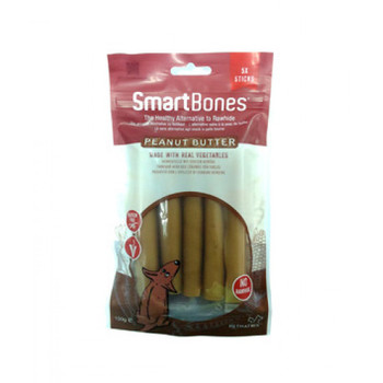 SmartBones have all the benefits of a rawhide chewWITHOUT the RAWHIDE!Many veterinarians are concerned with the potential health risks associated with dogs consuming rawhide. NO RAWHIDE SmartBones are made with REAL PEANUT BUTTER, CHICKEN and wholesome VEGETABLES for a scrumptious taste dogs can't resist! Made with Real Peanut Butter, Chicken and Vegetables Rawhide-Free Easy to Digest Vitamin & Mineral Enriched Chewing Helps Maintain Healthy Teeth