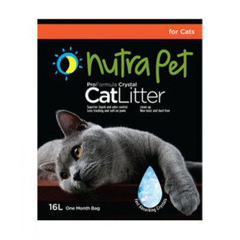 Nutrapet Designed in the United States of America now launches its line of Silica Gel Cat litter. Available in three sizes, 3.8 L, 7.6L and 16L.This product comes with superior absorption, advanced odor control, convenient and easy to use, less tracking and lastly environmental friendly.ADVANTAGES OF CRYSTALS CAT LITTER-no clumping action- more eco briendly because it naturally bio-degradable- this litter tends to be a bit tidier with less mess- when it comes to fighting odor, crystals cat litter does a good job absorbing the odor and masking the undesirable odor of cat urine- unlike many litters, you only to to completely replace this litter approximately once every month- if you have allergies or just want less dust in the house, you will like crystals cat litter- the manufacturer even says you can flush the litter down your toilet- at a time when it seems like everything around us is toxic to our health, crystals are said to be non-toxic