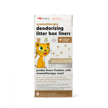 """Keep your litter box fresh and clean with new aromatherapy scented deodorizing litter box liners. Heavy duty scratch resistant liners are jumbo size to fit most litter boxes. Lasting scent keeps litter box fresh longer. Convenient drawstring closure makes for easy clean up - just pull, close and toss! Ideal for multiple cat households.- jumbo size drawstring liners fit most litter boxes- tear resistant and heavy duty for fast and easy clean up- ideal for multiple cat households"""""""