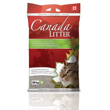 Small particle size and Super absorption of 350% - Unscented.  Composition: sodium bentonite Colour: Grey. Particle size: 0.5 – 2.5mm. Clumping power: Super clumping. Duration: 1x18kg = 75 days if used according to instructions.   Canada litter - Unscented Scent Small particle size and Super absorption of 350% - Unscented.