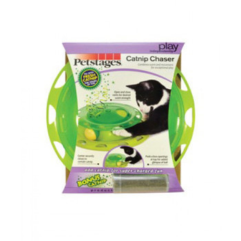 Catnip ChaserCombines scent and movement for exceptional playCombines scent and movement for exceptional playPeek-a-boo openings at top for added glimpse of ballOpen and close vents for desired scent strengthEasy to fill and cleanKeeps kitty engaged for hours of independent playCenter securely closes to contain catnipNon-skid pads on bottom