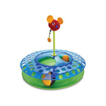 Three fun activities for three times the funTranslucent ball track offers hours of chasing fun for your catSwiss Cheese center offers challenge and interest with another ball to chasePlush mouse on spring is filled with catnip to attract kitty!