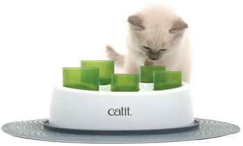 The Catit Senses 2.0 Digger encourages cats to work for their food/treats in a fun and natural manner. Its smart design plays on a cat's instincts to paw out smaller portions of food, which stimulates activity and reduces binge eating.