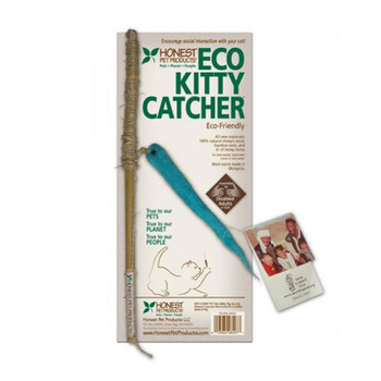 "From a cat's viewpoint, the Eco Kitty Catcher is the best invention since the ball of yarn. It's bamboo pole, hemp twine and natural wool worm provide hours of interactive play. The worm is handcrafted by rural Mongolian women supporting their impoverished families and protecting the snow leopards in Mongolia. The toy is assembled by disabled adults in Green Bay, Wisconsin.  Every Purchase helps eliminate poverty and protect the snow leopards in Mongolia Approximately 6"" long worm made of 100% natural sheep's wool, 12"" bamboo pole, 6' of hemp twine For best results, hand wash worm in cold water Assorted colors using natural vegetable dyes 100% Satisfaction Guaranteed"