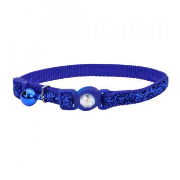 Coastal 3 And Safe Cat Jewel Buckle Glitter Overlay Collar Blue