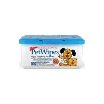 PetWipes provide a fast, convenient way to keep your pet clean everyday. Each extra soft wipe is moistened with a natural formula that helps maintain a clean and healthy pet. Gentle enough to use every day around pet's eyes, ears, face, and body.- wipes away daily dirt & odor- gently cleans pet's face, ears, body & eye area- won't remove spot flea treatments aloe & lanolin- vitamins a & e- proteinHerbal Extract, Essential Protein, Aloe Vera, Lanolin, Vitamins A and E, Oatmeal, Botanical Extracts, Pure Baking Soda, Mild Fragrance.Before First Use: Remove lid. Pull one wipe from center of roll and thread through opening in lid. (Caution: Do not push ?nger through opening.) Replace lid.Directions: Pull wipe up and tear at slight angle. Gently wipe pet until clean. No water or rinsing required. Use additional wipes as necessary, especially on larger pets. (Safe for use around eyes. DO NOT use directly in eyes.)