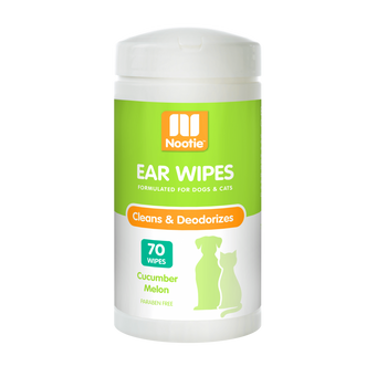 GENTLY REMOVES DAILY DIRT & ODOR Nootie ear wipes may be used for routine ear cleaning in a healthy ear. Helps eliminate ear odor. It may be used for dogs and cats of any age. It is infused with the delicate scent of Cucumber Melon.  Ingredients Purified Water, Propylene Glycol, DOSS, Benzoic Acid, Salicylic Acid, DMDM Hydantoin, Fragrance, SDA-40B Alcohol, Octylphenol Ethoxylate