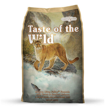 A grain-free formula with sweet potatoes provides highly digestible energy for your active cat. Made with trout and wood-smoked salmon, this formula offers great taste and quality fish protein. For today's healthy cat, this formula is supplemented with vegetables and fruits, providing antioxidants to support a healthy immune system and overall good health. Your cat craves a taste of the wild. Go ahead and give him one.  Ingredients  Trout, ocean fish meal, sweet potatoes, potatoes, pea protein, potato protein, canola oil, smoked salmon, natural flavor, choline chloride, DL-methionine, taurine, dried chicory root, tomatoes, blueberries, raspberries, yucca schidigera extract, dried Lactobacillus acidophilus fermentation product, dried Bifidobacterium animalis fermentation product, zinc proteinate, vitamin E supplement, niacin, manganese proteinate, copper proteinate, zinc sulfate, manganese sulfate, copper sulfate, thiamine mononitrate (vitamin B1), vitamin A supplement, biotin, potassium iodide, calcium pantothenate, riboflavin (vitamin B2), pyridoxine hydrochloride (vitamin B6), vitamin B12 supplement, manganous oxide, sodium selenite, vitamin D supplement, folic acid.  Guaranteed Analysis Crude Protein32.0% minimum Crude Fat16.0% minimum Crude Fiber3.0% maximum Moisture10.0% maximum Zinc120 mg/kg minimum Selenium0.3 mg/kg minimum Vitamin E150 IU/kg minimum Taurine0.15% minimum Omega-6 Fatty Acids*2.4% minimum Omega-3 Fatty Acids*0.3% minimum Total Microorganisms* (Lactobacillus acidophilus, Bifidobacterium animalis)not less than 1,000,000 CFU/lb *Not recognized as an essential nutrient by the AAFCO Cat Food Nutrient Profiles.  Calorie Content  3,741 kcal/kg (350 kcal/cup) Calculated Metabolizable Energy  Feeding Guide For Kittens  Standard Measuring Cups/Day  Weight (lbs.)  Weaning to 4 months  5 – 7 months  7 – 9 months  9 – 12 months  1 – 4  ¾ – 1  ⅔ – ¾  ½ – ⅔  ⅓ – ½  4 – 6  1 – 1⅓  ¾ – 1  ⅔ – ¾  ½ – ⅔  6 – 9  1⅓ – 1⅔  1 – 1⅓  ¾ – 1  ⅔ – ¾  9 – 12  1⅔ – 2  1⅓ – 