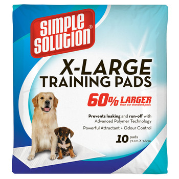 "28"" x 30"" Pads 60% larger than our standard pads 110% more absorbent than economy pads Accelerates training time by encouraging instinctive elimination Guards against odors by inhibiting the growth of microorganisms Absorbent core draws in wetness to prevent messy tracking Five-layer construction traps more urine for repeat use or for larger-breed pets"