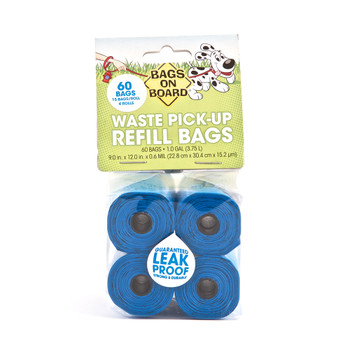 Bags on Board Dog Waste Pick-up Refill Bags make picking up dog poop and pet waste quick, easy, and simple whether on a walk or in the backyard