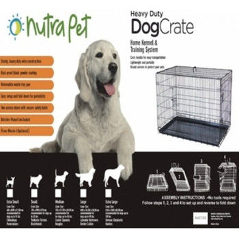 "Nutrapet Dog Crates help reduce housebreaking time and provide the perfect home for pets.Two easy-locking doors. The leak-proof removable tray makes clean up quick and easy. Collapsible design is great fortraveling. Divider panel is included so crate can ""grow"" as the puppy does. Available in 5 sizes.Floor Mesh is SOLD Separately as an accessory."