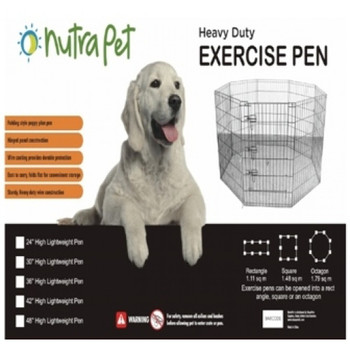 "Nutrapet Lightweight Exercise Pen helps keep pets safely contained either indoors or out!Each pen is made with solid hinged construction and has secure locking clamps.All panels are 24"" wide and have a durable electroplated finish and come with 8 ground anchors for outdoor use. The pen is available in 5 different sizes to accommodate every type of need. Sets up in minutes and folds flat for easy storage."