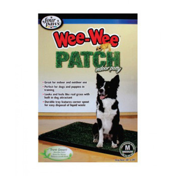 The Four Paws Wee-Wee Patch is a housetraining aid that's great for indoor and outdoor use. This patch feels and looks like real grass and is infused with antimicrobial agents and attractant to eliminate smells while encouraging your dog to utilize it.Great housetraining aid for indoor and outdoor useLooks and feels like real grass with built in dog attractantDurable tray allows for easy disposal of wasteWith a durable tray, this Wee Wee Patch features a corner spout for easy disposal of liquid waste. This patch is perfect for training dogs and puppies and makes cleaning up after your dog both hygienic and efficient. Ditch the newspaper, and think green with the Wee-Wee Patch.