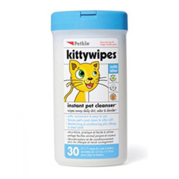 """KittyWipes make it easy to have a clean, fresh-smelling kitty. Heavy-duty wipes measure 7.5"""" x 10"""" and contain a combination of cleansers, moisturizers, vitamins, herbal extracts, baking soda and a light fragrance. They're great for everyday cleaning, wiping dirty paws, and wiping away the dander and excess hair that can cause human cat allergies. No water or rinsing means less stress for your cat. Petkin wipes are alcohol free and 100% non-toxic to pets and people."""