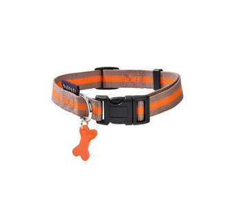 Fabric collar, two-coloured, with a contrasting strip in the middle and ornated with a soft bone charm. Neck size: 32-52 cm Width: 2 cm Composition : 100 % nylon Care : Machine washable (30°). Taking off the charm is recommended.
