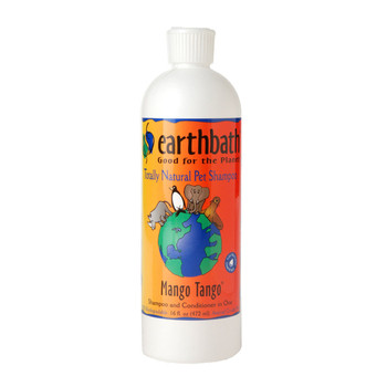 earthbath responded to your requests for a high quality, all natural shampoo and conditioner in one by creating Mango Tango, a heavenly scented™, biodegradable, pure and natural shampoo and conditioner that's sure to leave your furry friend looking...and smelling...better than ever before. The delicious scent of fresh tropical mangoes combined with an exceptionally mild shampoo adds brilliance and shine while the extra gentle conditioner softens and detangles, leaving your pet's coat wonderfully clean, soft & plush. Will not wash off topical flea applications. Safe for all animals over 6 weeks. Soap free.  Ingredients  Purified water, renewable coconut-based cleansers, gentle-conditioning agent, aloe vera, hydrolized wheat protein, glycerine, mango essence, olive oil squalene (natural preservative). All ingredients are natural, 100% biodegradable, and gentle on your pet & you.  Non-Ingredients  Anything that would harm you, your pet, or the planet. This product contains no: parabens, phosphates, pthalates, DEA, synthetic dyes or perfumes. The sudsy runoff is completely safe and will not harm kids, lawns or other living things.  Precautions  Avoid contact with eyes. Product is solely intended for use on coat and skin. Flush thoroughly with clean water if eye contact occurs. Keep out of reach of children. If swallowed (by humans), consult a physician.  Guarantee  We are so sure you will love this product that we will refund your money if you are not satisfied for any reason. If you like earthbath, please tell your friends