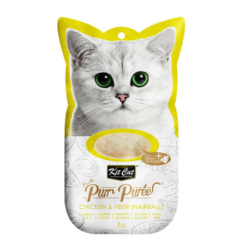 Contains a smooth blend of chicken & fiber, with no added colors or preservatives and is perfect for cats of all life stages  Grain-free, delicious and 100% natural - this will be the most irresistible and ideal treat your cat will crave.  Product Features: - Omega 3 & 6 - Taurine Added - Prebiotic Vitamin E - Grain Free - Puree that can be feed from satched, in clean bowl or as topping - 4-Individual servings  Made in Thailand  Feed as treat, for complementary use only.