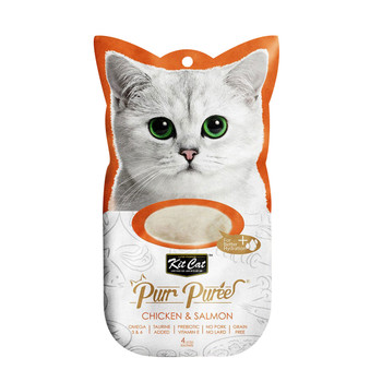Contains a smooth blend of chicken & salmon, with no added colors or preservatives and is perfect for cats of all life stages  Grain-free, delicious and 100% natural - this will be the most irresistible and ideal treat your cat will crave.  Product Features: - Omega 3 & 6 - Taurine Added - Prebiotic Vitamin E - Grain Free - Puree that can be feed from satched, in clean bowl or as topping - 4-Individual servings  Made in Thailand  Feed as treat, for complementary use only.
