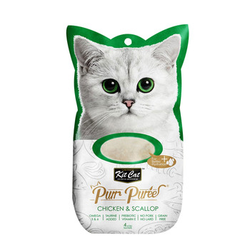 Contains a smooth blend of Chicken & Scallop, with no added colors or preservatives and is perfect for cats of all life stages  Grain-free, delicious and 100% natural - this will be the most irresistible and ideal treat your cat will crave.  Product Features: - Omega 3 & 6 - Taurine Added - Prebiotic Vitamin E - Grain Free - Puree that can be feed from satched, in clean bowl or as topping - 4-Individual servings  Made in Thailand  Feed as treat, for complementary use only.