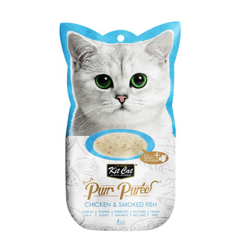 Contains a smooth blend of chicken & smoked fish, with no added colors or preservatives and is perfect for cats of all life stages  Grain-free, delicious and 100% natural - this will be the most irresistible and ideal treat your cat will crave.  Product Features: - Omega 3 & 6 - Taurine Added - Prebiotic Vitamin E - Grain Free - Puree that can be feed from satched, in clean bowl or as topping - 4-Individual servings  Made in Thailand  Feed as treat, for complementary use only.