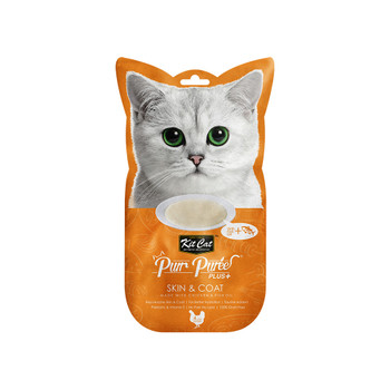 Contains a smooth blend of chicken & Fish oil, with no added colors or preservatives and is perfect for cats of all life stages  Grain-free, delicious and 100% natural - this will be the most irresistible and ideal treat your cat will crave.  Product Features: - Rejuvenates Skin & Coat - Taurine Added - Prebiotic Vitamin E - Grain Free - Puree that can be feed from satched, in clean bowl or as topping - 4-Individual servings  Made in Thailand  Feed as treat, for complementary use only.