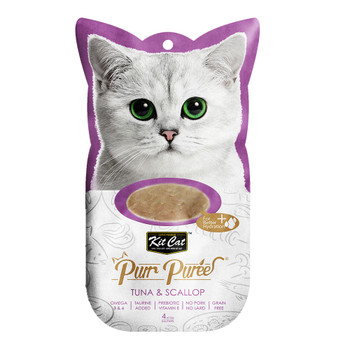ontains a smooth blend of Tuna & Scallop, with no added colors or preservatives and is perfect for cats of all life stages  Grain-free, delicious and 100% natural - this will be the most irresistible and ideal treat your cat will crave.  Product Features: - Omega 3 & 6 - Taurine Added - Prebiotic Vitamin E - Grain Free - Puree that can be feed from satched, in clean bowl or as topping - 4-Individual servings  Made in Thailand  Feed as treat, for complementary use only