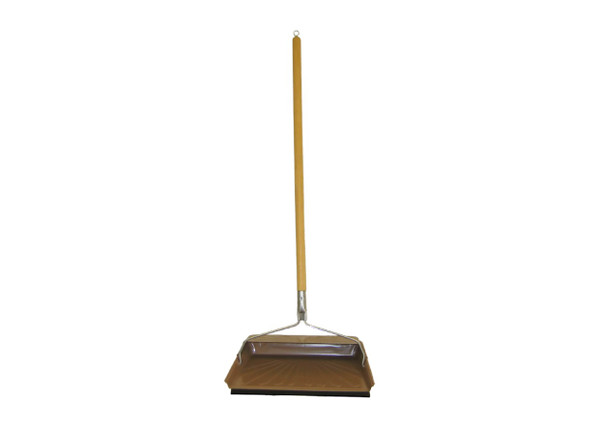 Dustpan with Wooden Handle and Rubber Edge