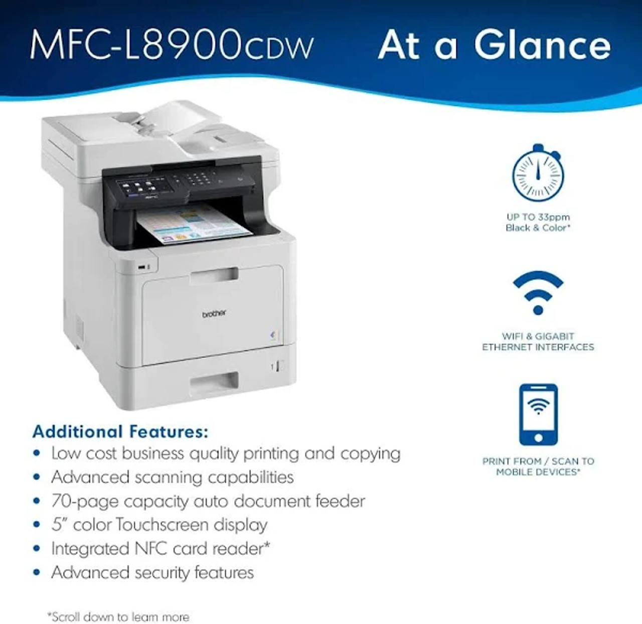 Brother Business Color Laser All-in-One MFC-L8900CDW - Duplex Print - Wireless Networking