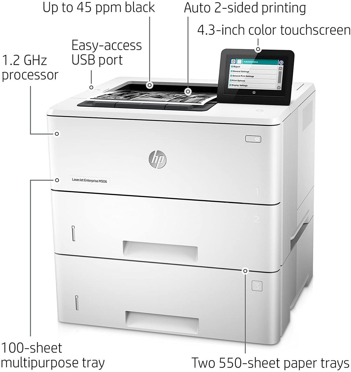 HP LaserJet Enterprise M506x Mono Laser Printer - F2A70A -