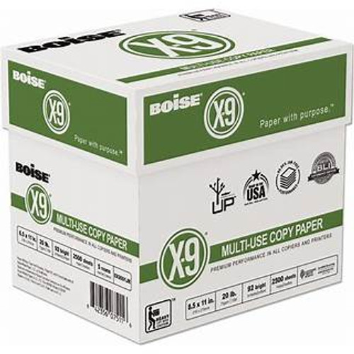 Boise® X-9® Multi-Use Copy Paper, Letter Size, 20 Lb, Bright White, Case Of 5 Reams of 500 sheets